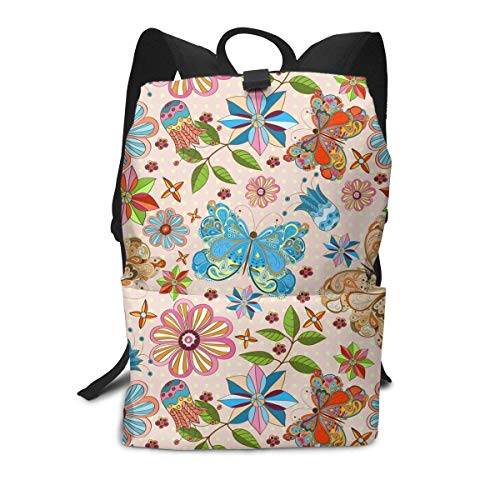 Homebe Beautiful Butterfly Art Blue Flower Rucksäcke,Daypack,Schulrucksack Für Jungen und Mädchen Travel Hiking Small Gym Teen Little Girls Youth Boy Women Men Kids Backpack