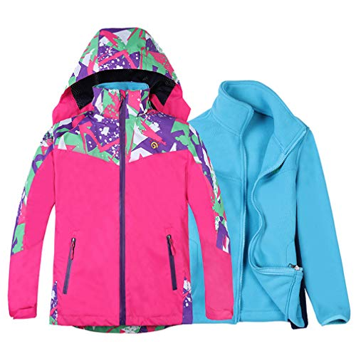 Jingle Bongala Boys Girls Waterproof Ski Jacket 3 in 1 Winter Coat for Hiking Snowboarding-ROSE-150