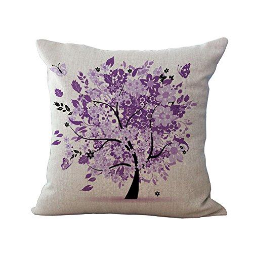 Hengjiang Housse de coussin pour canapé Motif arbre coloré, Coton et lin, 08, 45 x 45 Centimeters