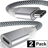 USB Type C Extension Cable 6.6FT 2-Pack,USB-C 3.1 Gen2 10Gbps Female to USBC Male Adapter,(Thunderbolt 3 Compatible) Extender Cord for Nintendo Switch,MacBook Pro,Mac Air,Surface Go,Oculus Quest Link