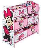 PEGANE Meuble de Rangement Enfant avec 6 bacs, Rose Motif Minnie Mouse - Dim : H 60 x...