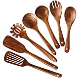 Kitchen Gadgets Set Wooden Kitchen Utensils Set,Wooden Spoons for Cooking Natural Teak Wood Kitchen Spatula Set for Including 7 Pack Kitchen Cooking Utensils Set