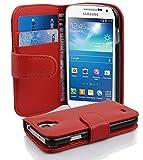 Cadorabo Samsung Galaxy S4 Mini Custodia di Libro di Finta-Pelle Struttura in Rosso Cremisi – con Vani di Carte e Chiusura Magnetica – Portafoglio Cover Case Wallet Book Etui Protezione