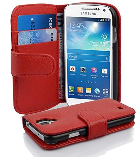 Cadorabo Hülle für Samsung Galaxy S4 Mini - Hülle in Inferno ROT – Handyhülle mit Kartenfach aus struktriertem Kunstleder - Case Cover Schutzhülle Etui Tasche Book Klapp Style