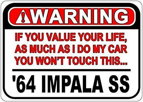 PmseK Blechschild 20,3 x 30,5 cm 1964 64 Chevy Impala Ss Warnung Value Your Life Caution Schild