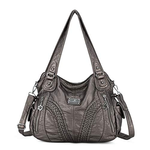 Angelkiss Women Top Handle Satchel Handbags Shoulder Bag Messenger Tote Washed Leather Purses Bag (Pewter) …