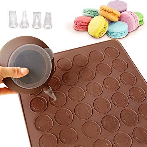 DURANTEY Macarons Backset Macaron Backbleche Silikon 48 Löcher Kapazität Macaron Formset Antihaft-Backblech 38 * 28 cm Macaron Pad mit Dekorationsstift und 4 Düsen für Macaron Cupcake Dessert