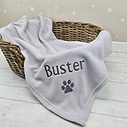 PERSONALISED PET BLANKET. Soft Fleece Blanket. Perfectly Embroidered with the name of your pet. IDEAL PET BLANKET. Perfect for use in a basket,in the car, on furniture or outdoors. SUITABLE FOR ALL PETS. The ideal size for most Dogs, Puppys, Cats or ...