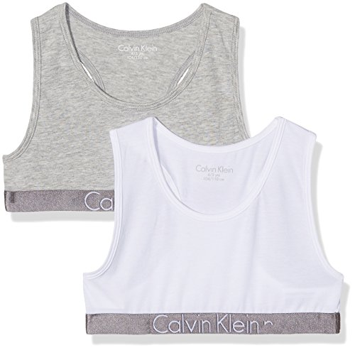 Calvin Klein 2 Pack Bralette, Corsetto Bambina, Multicolore (1 Grey Heather/1 White 033), 140 (Taglia Produttore: 10-12)