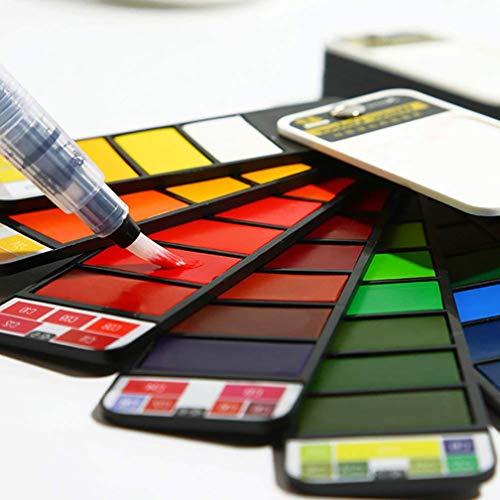 Kuke Set de pintura de acuarela, viaje profesional portátil plegable, con pincel de agua, para pintura al aire libre para artistas, niños y adultos (42 colores)