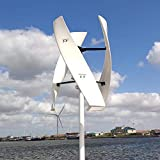 NINILADY Free Energy 600w Vertical Wind Turbine Generator 3 Blades 12v 24v 48v 300RPM with MPPT Controller for Home Factory Use (48V with Controller, White)