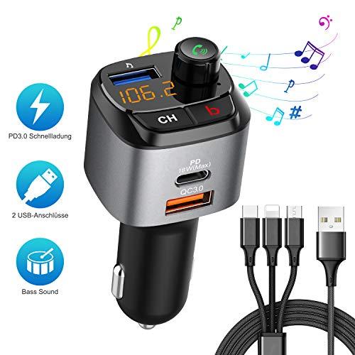 Bluetooth FM Transmitter Auto Mit 3 in 1 Kabel, Jayol Bluetooth FM Radio Adapter mit 3 USB MP3 Ladegerät Musik Player FM Transmitters mit USB-C PD 18W Schnellladung Freisprechung Support USB-Laufwerk