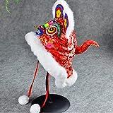 TWDYC Estilo Tradicional China Pequeños Regalos Folk artesanías Hechas a Mano del Bordado de la Cabeza del Tigre niños del Sombrero del bebé (Size : Head Circumference 50-53cm)