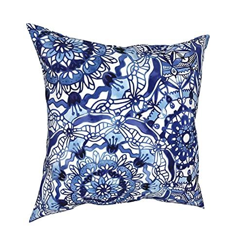 Art Fan-Design Fundas de cojín Delft Blue Mandalas Juego de fundas de cojín para sofá, dormitorio, coche, 45,7 x 45,7 cm