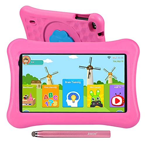 AWOW Funtab 701 Tablet per Bambini 7 Pollici 2GB RAM 16GB ROM, Android 10 Tablets iWawa APP& Google Play Preinstallato con Kid-Proof Custodia (Rosa),Penna tattile,WiFi, Bluetooth