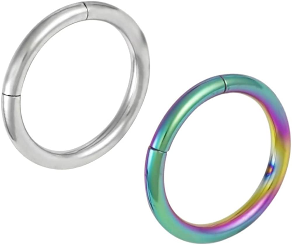 Forbidden Body Jewelry Set of 2 Seamless Cartilage Hoop Earrings: 16g 5/16 Inch Surgical Steel & IP Plated Rainbow Hoops