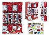TOYLAND® Pack de 12 Recuerdos para Fiestas Navideñas con Buzón y Diseño de Autobús Rojo - Tema Navideño Británico