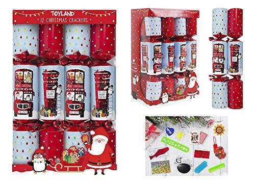 Toyland® Packung mit 12 Weihnachtsfeier Gefälligkeiten mit Briefkasten und Rotem Busdesign - Britisches Weihnachtsthema