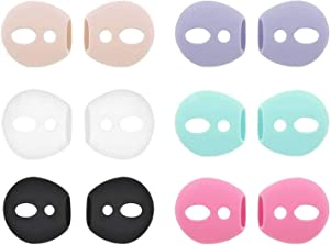 ALXCD Fit in Case Ear Cover Replacement for Air Pods Headphones, Silicone Earbud Covers Eartips, Compatible with Air Pods, 6 Pairs, White Black Pink Purple Green Gold