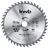 kwb 589359 - Lama per sega circolare da tavolo, 250 x 30 mm, denti alternati per taglio medio, Z-42 denti