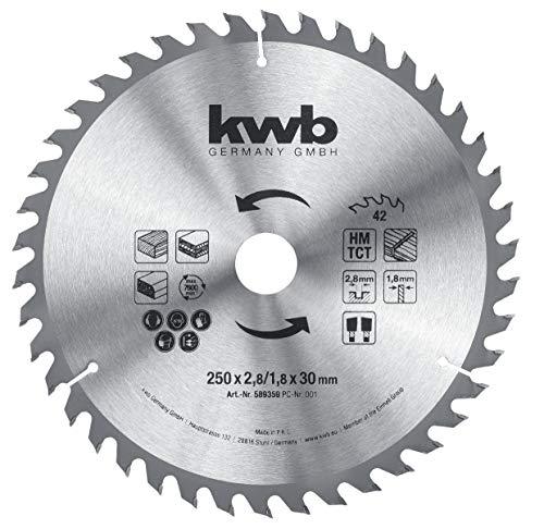 kwb 589359 - Hoja de sierra circular para sierras circulares de mesa (250 x 30, dentado alterno para cortes medios, Z-42 dientes)