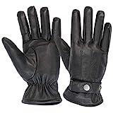 ALPIDEX Guanti invernali in pelle da uomo vera pelle -Taglia: M, Colore: black