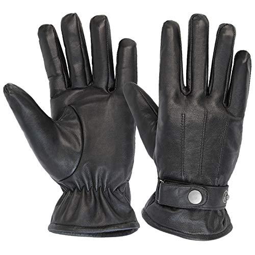 ALPIDEX Guantes de Piel para Hombre de distintos tamaños - Tamaño M, black