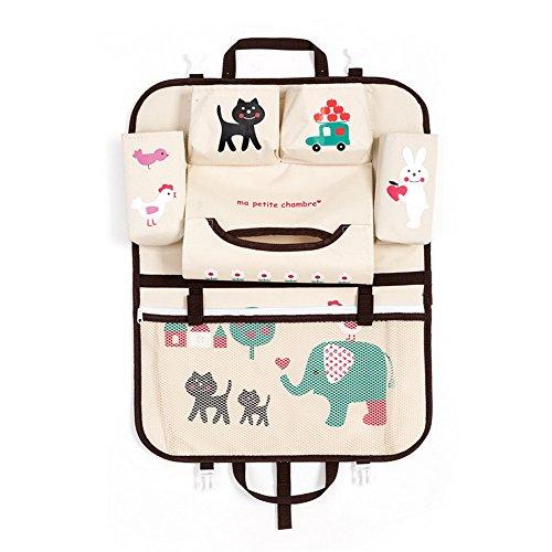 Car Seat Back Protector - Cute Kids Storage Organizer Pockets (Elephant)