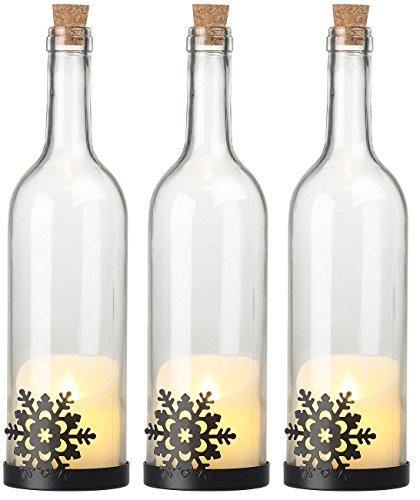 3 bouteilles de vin décoratives avec bougie LED vacillante - Flocon [Lunartec]