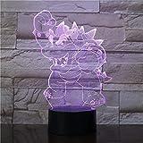 Lámpara de ilusión 3D con luz nocturna de dinosaurio, lámpara de ilusión óptica de 16 colores, regulable, con control táctil con base de grietas, mando a distancia para niños y niñas, regalos