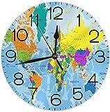 SBLB - Reloj de pared con mapa del mundo con diseño de mapa