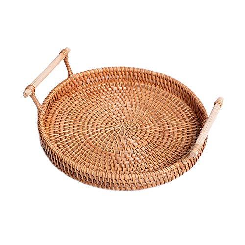 URMAGIC Rattan cesta de pan redondo hand-woven bandeja de té con asas para servir cenas Fiestas Desayuno