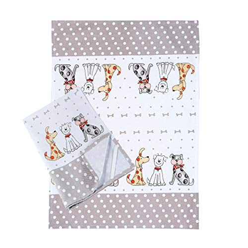 Küche Geschirrtücher Handtuch Küchentücher 2er-Set Weiß Qualität Baumwolle Hunde Design 50x70 cm Geschenk für Köche Tier Hund Liebhaber Set of 2 Cotton Kitchen Tea Towels Gift for Dog Lover