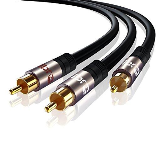 IBRA Cinch Kabel 2m Y Kabel Subwoofer Kabel Audio Kabel 1x Cinch auf 2X Cinch Gun Metal