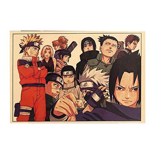 Zhongjiany TIE LER - Póster vintage de dibujos animados de Naruto para la habitación de los niños, decoración del hogar, libros de cómics Naruto retro, papel kraft 50,5 x 35 cm Estilo05