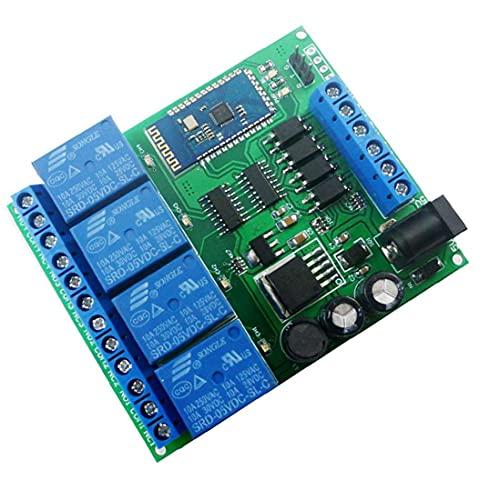 Gracy Módulo de relé de 4 Canales Bluetooth DC 5V 9V 24V 12 Smart Wireless Auto-Bloqueo momentáneo de Bloqueo Remoto Interruptor de Control de Azul, el relé