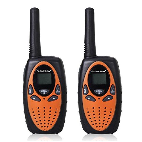 FLOUREON Walkie Talkies Two Way Radios 2 Packs 22 Channel 3000M (MAX 5000M open field) UHF Long Range Handheld Walkie Talky (Orange/Black)