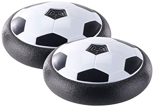 Playtastic Hover Ball: Schwebender Luftkissen-Indoor-Fußball, Möbelschutz, Farb-LEDs, 2er-Set (Luftkissenball)