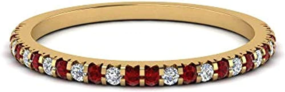 Super popular specialty store ABHI 0.20ctw D VVS1 Diamond Half Red Garnet Stackable Sale special price Created