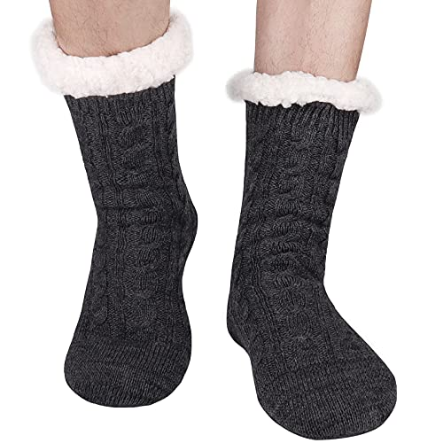 Merclix Calcetines para Casa, Calcetines Antideslizantes Hombre, Calcetines Polar, Calcetines Polares Hombre (Gris)