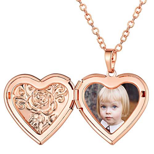 FaithHeart Locket Moderno con Foto Personalizada Colgante Corazón de Amor Collares Elegantes con Flores Rosas