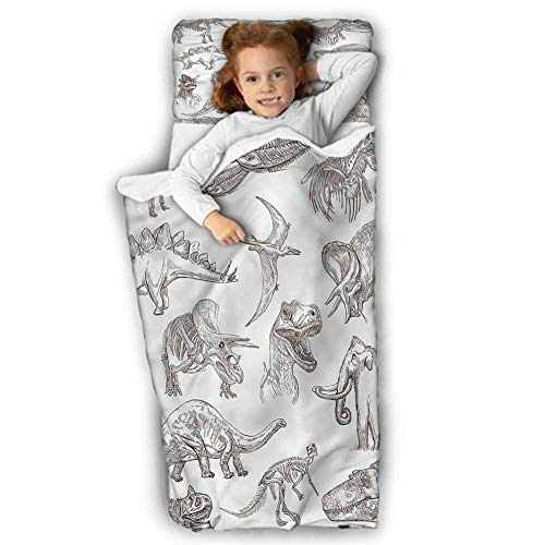 Jurassic Kids Sleeping Bag Dinosaurs Skeleton Soft Microfiber for Preschool 50X20 INCH
