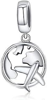 Charm in argento per braccialetti o braccialetti fai da te spaziali o viaggi astronave fascino aereo blu terra perline 10...