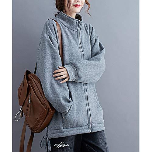 『Semo1mus レディース ジャケット 冬 コート カジュアル 防寒 ゆったり 厚手ファッション 体型カバー おしゃれ グレー』の6枚目の画像