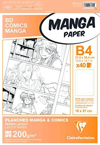 Clairefontaine 94046C - Un étui Manga multi-techniques 40 feuilles de papier dessin Layout avec grille simple 27,5x37,4 cm 200g