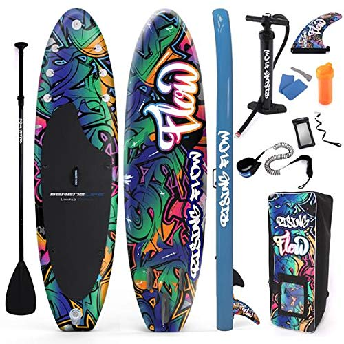 SereneLife Inflatable Stand Up Paddle Board (6 Inches Thick) with Premium Accessories & CarryBag   Wide Stance, Bottom Fin for Paddling, Surf Control, Non-Slip Deck