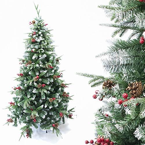 Arcoiris® - Árbol de Navidad artificial de acebo, verde natural, material de PVC, soporte de metal (180 cm, nieve y grifo)