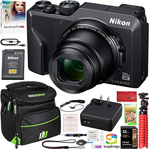 Nikon Coolpix A1000 16MP 35x Optical Zoom 4K Compact Digital Camera Bundle with 32GB Memory Card, Paintshop Pro 2018, and Camera Bag for DSLR
