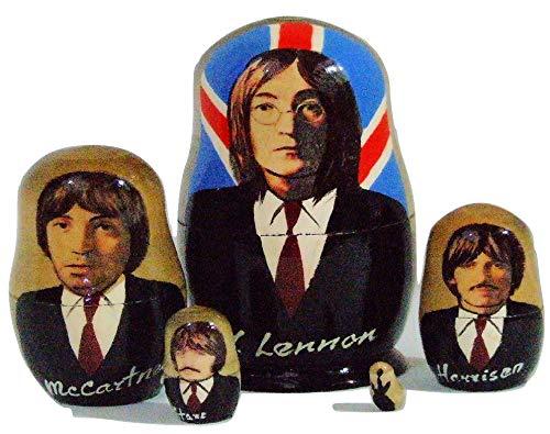 Handgefertigte russische Nesting Puppe der Beatles Britische Flagge, 10,8 cm hoch, 5 Stück