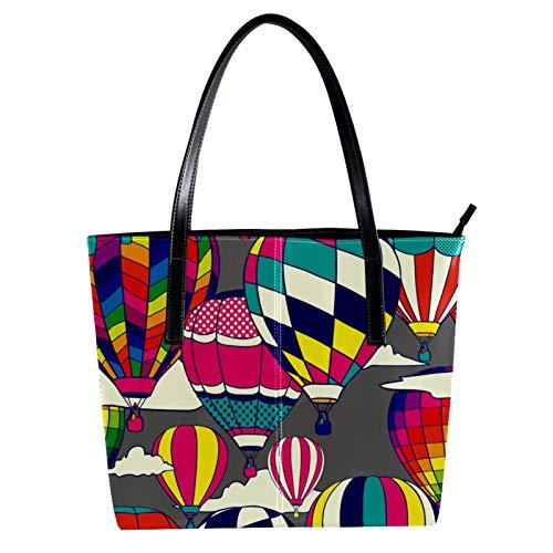 Indimization Handbags for Women Ladies Handbag Tote Bag Microfiber leather Large Capacity Womens Top Handle Shoulder Bag For women Handbag Color Hot Air Ballon Sky 15.7x11.4x3.5in